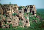Image showing rigged and weathered rock formations and vegetation typical of the escarpment is Kakadu.